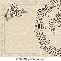 パターン, 鳥, aztec, スタイル