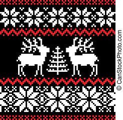 パターン, 黒, クリスマス, nordic