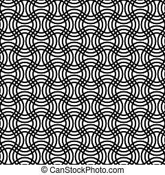 パターン, 黒, 曲がった, 格子, 繰り返すこと, 白