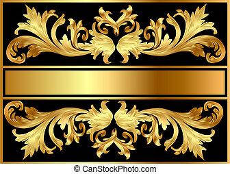 パターン, 黒, 金メッキしなさい, 背景, フレーム