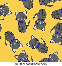パターン, 黒, seamless, かわいい, ベクトル, ネコ