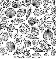 パターン, 黒, seamless, 海の貝