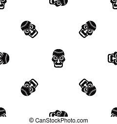 パターン, 黒, seamless, 頭骨