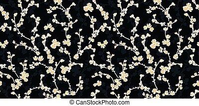 パターン, blossom., 黒, さくらんぼ