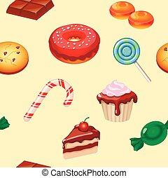 パターン, cakes., カラフルである, seamless, 甘いもの, キャンデー