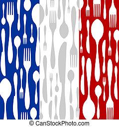 パターン, cutlery, 旗, cuisine:, 国, フランス語