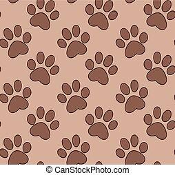 パターン, dog's, seamless, cat's, 足