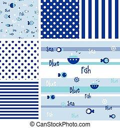 パターン, fish, セット, seamless