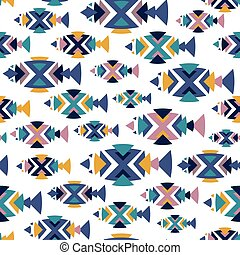 パターン, fish, seamless, vector.