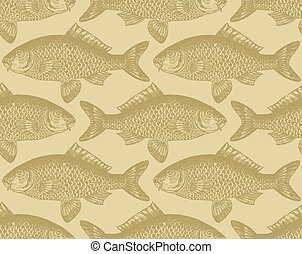 パターン, fish, seamless, (vector)