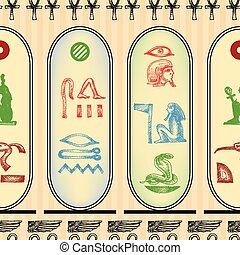 パターン, hieroglyphics, seamless, エジプト人