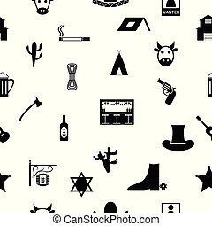 パターン, icon., seamless, 背景, カウボーイ