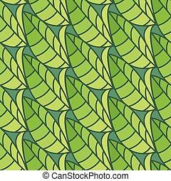 パターン, leaves., イラスト, seamless, ベクトル, 背景