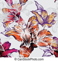 パターン, lili, seamless, 咲く