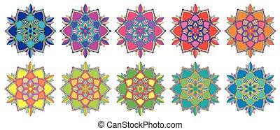 パターン, mandala, セット, 別, 色