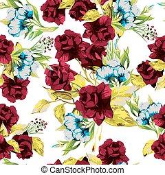 パターン, seamless, ばら, ベクトル, 背景, 花, 白い赤