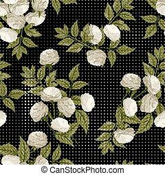 パターン, seamless, ばら, ベクトル, 黒い背景, 花, 白