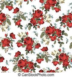 パターン, seamless, ばら, 背景, 花, 白い赤