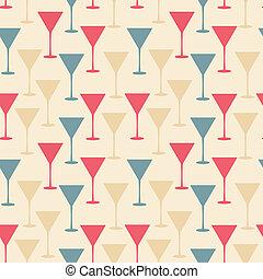 パターン, seamless, イラスト, ガラス, ベクトル, マティーニ