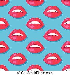パターン, seamless, イラスト, 唇, ベクトル, womens