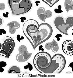 パターン, seamless, イラスト, 手, ベクトル, hearts., 引かれる