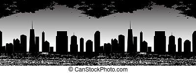 パターン, seamless, イラスト, silhouette., ベクトル, 都市