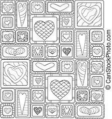 パターン, seamless, オリジナル, hearts., いたずら書き, 図画