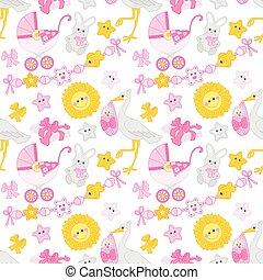 パターン, seamless, シャワー, ベクトル, 女の赤ん坊