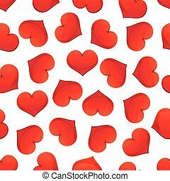 パターン, seamless, バレンタイン, 心, 日, 赤