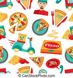 パターン, seamless, ピザ