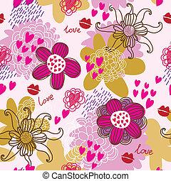 パターン, seamless, ベクトル, 花