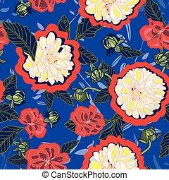 パターン, seamless, ベクトル, dahlia., 花, クリーム