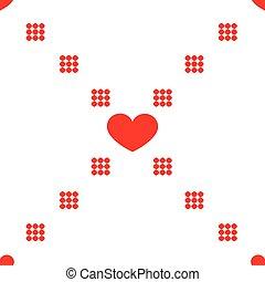 パターン, seamless, ベクトル, hearts., 幾何学的, 繰り返すこと, texture.