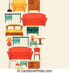 パターン, seamless, レトロ, 内部, style., 家具