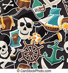 パターン, seamless, 主題, オブジェクト, ステッカー, 海賊
