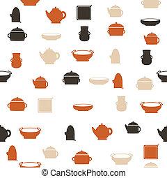 パターン, seamless, 台所