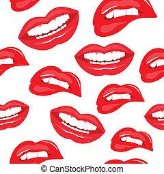 パターン, seamless, 唇