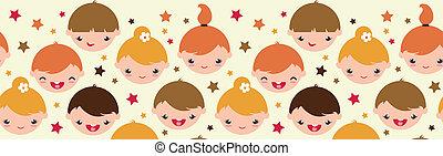 パターン, seamless, 子供, 背景, 微笑, 横