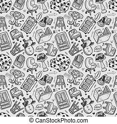 パターン, seamless, 家具