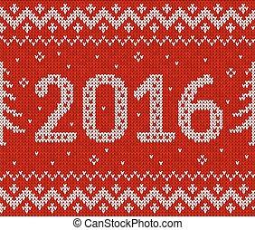 パターン, seamless, 年, 新しい, 2016, 編みなさい, 赤