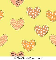 パターン, seamless, 引かれる, ベクトル, design., 手, イラスト, hearts.