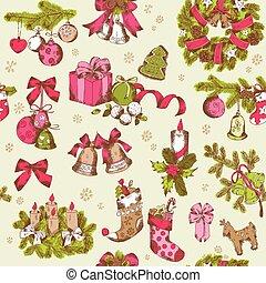 パターン, -, seamless, 手, ベクトル, デザイン, 背景, 引かれる, スクラップブック, クリスマス