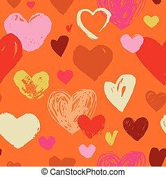 パターン, seamless, 手, 引かれる, 心, いたずら書き, 赤