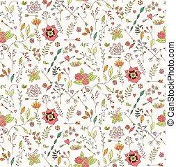 パターン, seamless, 手, 花, ボヘミアン, 引かれる