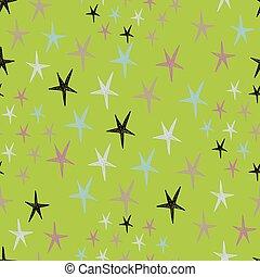 パターン, seamless, 星, colorfu