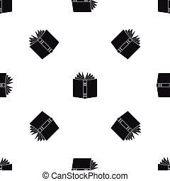 パターン, seamless, 本, 黒, 厚く, 開いた