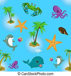 パターン, seamless, 海動物