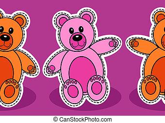 パターン, seamless, 熊, テディ