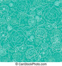 パターン, seamless, 緑の背景, エメラルド, 花, lineart