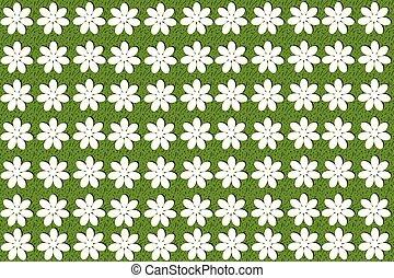 パターン, seamless, 緑の背景, 白い花